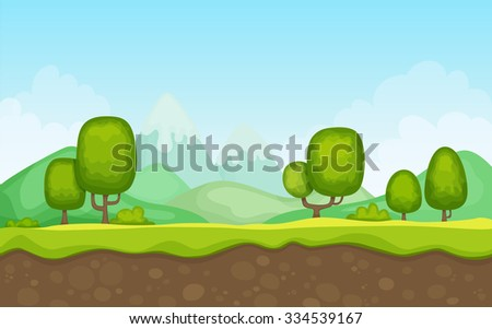 Cartoon Landscape Background - stock vector