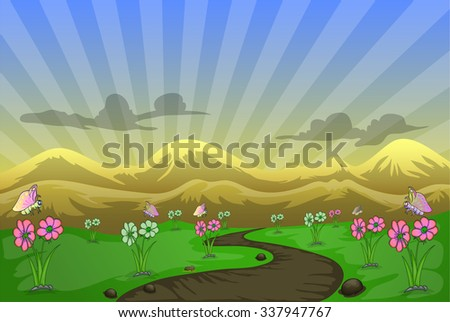 cartoon landscape background with butterfly flying on fresh flower trees - stock vector