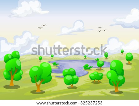 cartoon landscape of lake with various tree and cloudy sky background in light green color - stock vector