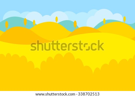 Cartoon Landscape of Yellow Desert and Trees for Game, Vector Illustration - stock vector