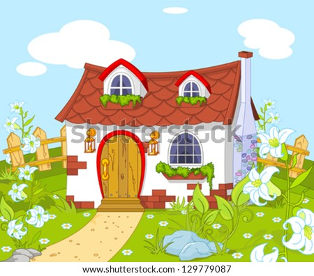 Cute House Cartoon Cartoon Landscape With Cute