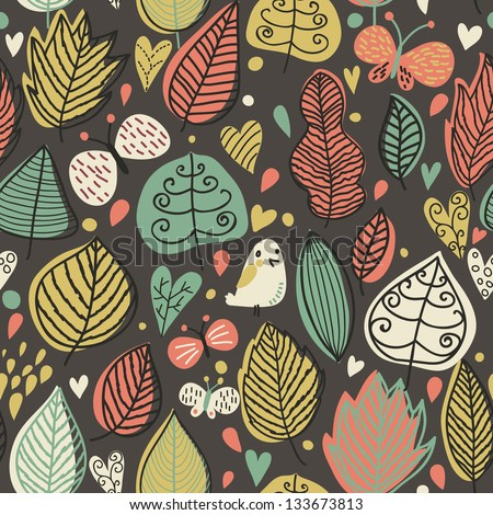 Cartoon leafs with birds and butterflies in vector. Cute autumn background. Seamless pattern can be used for wallpapers, pattern fills, web page backgrounds, surface textures. - stock vector