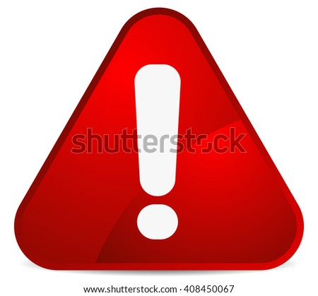 Cartoon like rounded warning, attention sign with exclamation mark. triangle road sign - stock vector