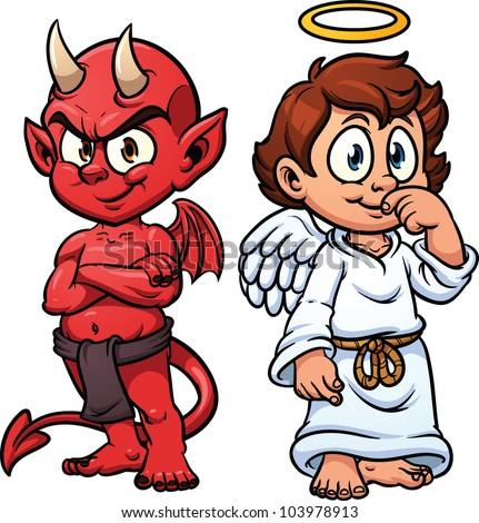 Cartoon little angel and devil. Vector illustration with simple gradients. Each in a separate layer for easy editing. - stock vector