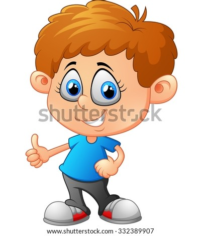 Cartoon little boy giving thumb up - stock vector