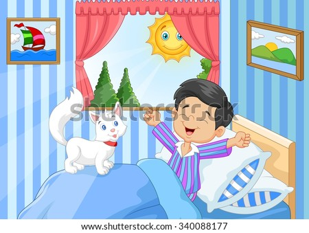 Cartoon Little boy woke up and yawns with cat animal  - stock vector