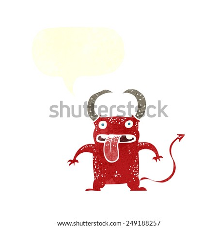 cartoon little devil with speech bubble - stock vector