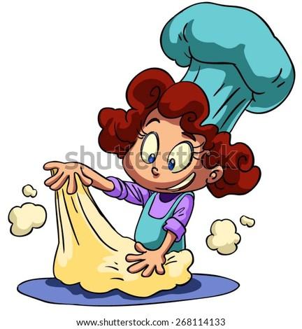 cartoon little girl kneading dough - stock vector