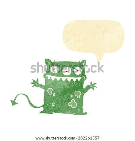 cartoon little monster with speech bubble - stock vector