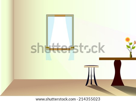 Cartoon living room with soft light from window - stock vector