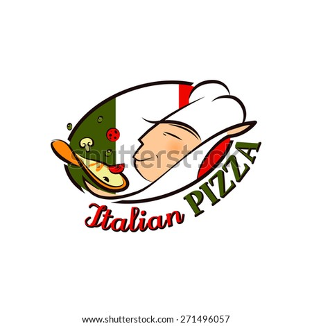 Cartoon Logo Pizza Chef In Front Of Flag Of Italy For Your Design - stock vector