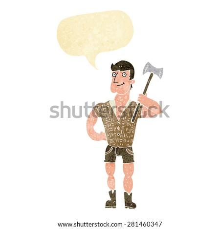 cartoon lumberjack with speech bubble - stock vector