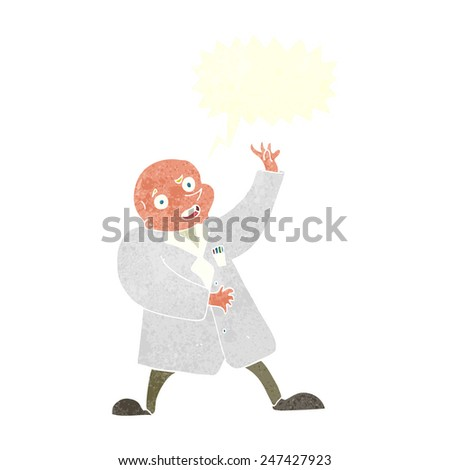 cartoon mad scientist with speech bubble - stock vector