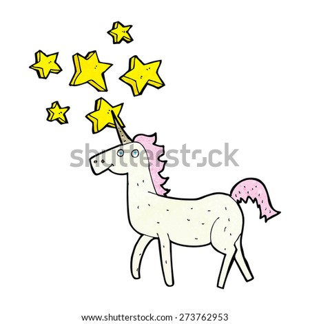 cartoon magical unicorn - stock vector
