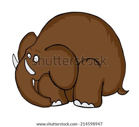 Cartoon Mammoth, prehistoric Animal, vector illustration - stock vector
