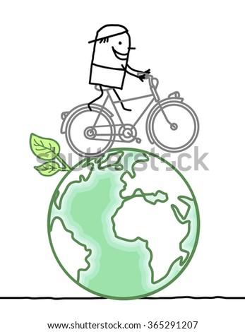 cartoon man and bike on earth - stock vector