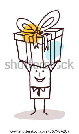 cartoon man carrying a big gift package - stock vector