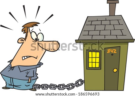 cartoon man chained to his house by a mortgage - stock vector