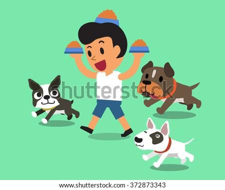 Cartoon man feeding dogs - stock vector