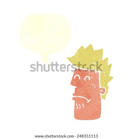 cartoon man feeling sick with speech bubble - stock vector