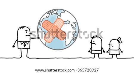 cartoon man giving a sick planet to his children - stock vector