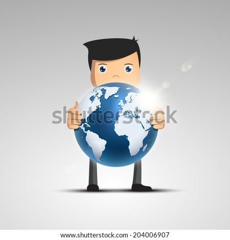 Cartoon man in a suit hold globe in hand. Vector character. - stock vector