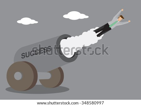 Cartoon man in business attire shot out from cannon which has text SUCCESS on it. Creative vector illustration on success concept.  - stock vector
