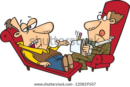 cartoon man laying on a therapists couch talking about his problems - stock vector