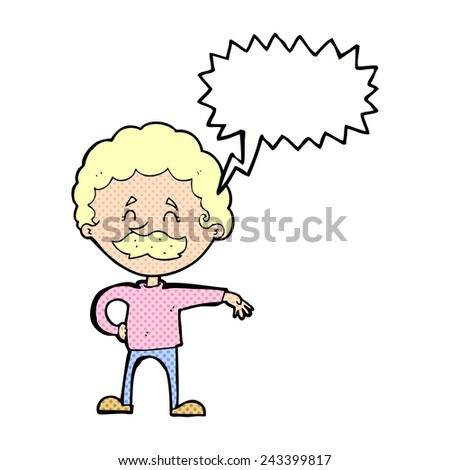 cartoon man making camp gesture with speech bubble - stock vector