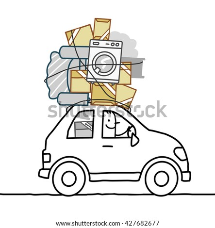 cartoon man moving in a car - stock vector