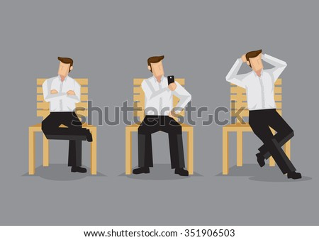 Cartoon man on a bench in relaxed sitting positions, cross-legged with folded arms, taking selfie with hand phone and hands behind head. Set of three vector illustrations isolated on grey background. - stock vector