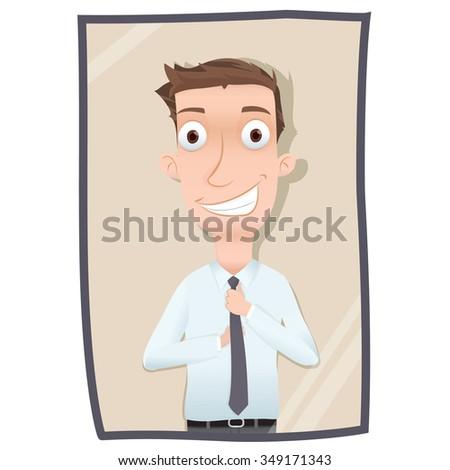 cartoon man straightening his necktie - stock vector