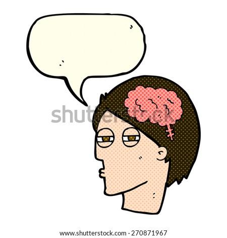 cartoon man thinking carefully with speech bubble - stock vector
