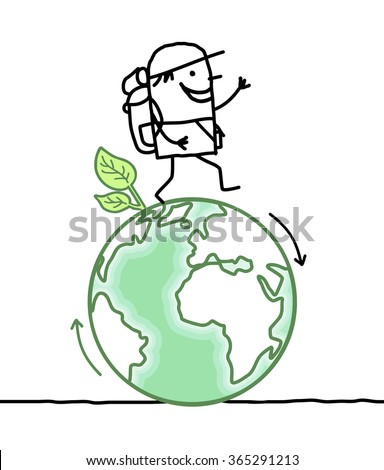 cartoon man walking around the Earth - stock vector