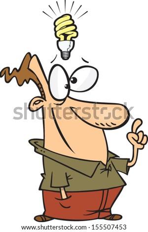 Cartoon man with an idea light bulb above his head - stock vector