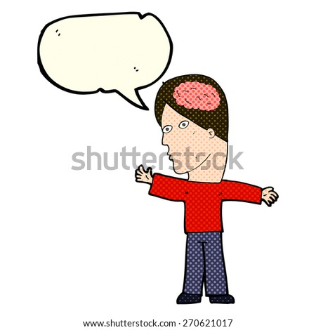 cartoon man with brain with speech bubble - stock vector