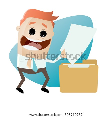 cartoon man with document and folder - stock vector