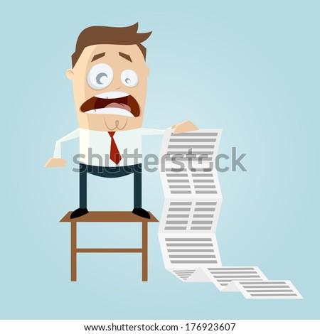 cartoon man with long task list - stock vector