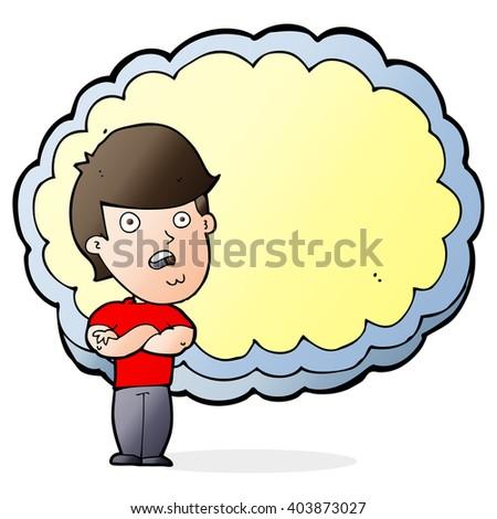 cartoon man with text space cloud - stock vector