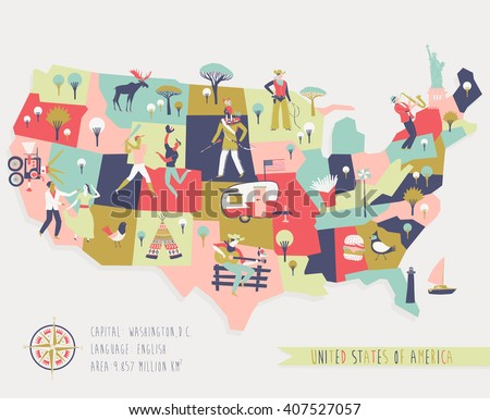 Cartoon Map of USA with Legend Icons - stock vector