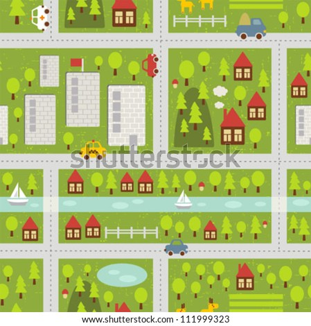 Cartoon map seamless pattern of small town and countryside. Vector illustration. - stock vector