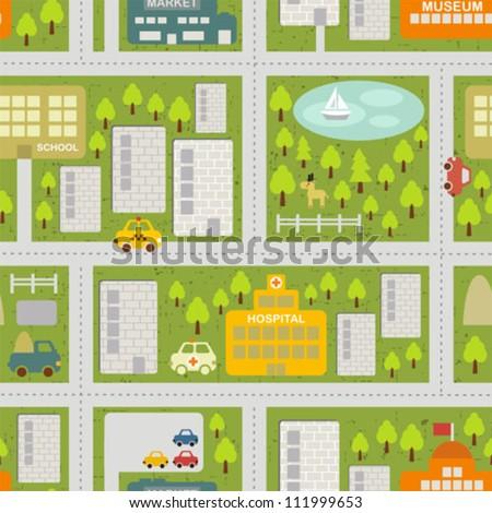 Cartoon map seamless pattern of summer city. Vector cityscape. - stock vector