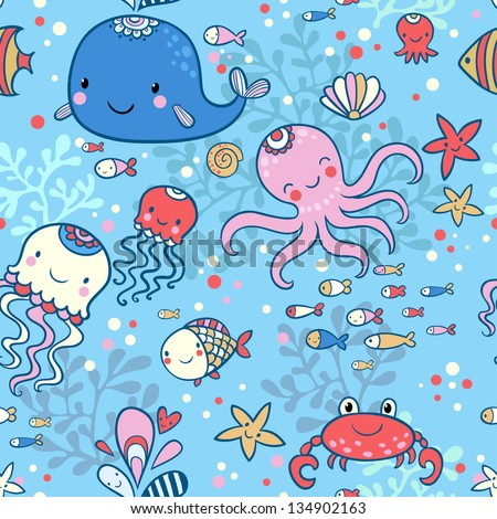 Cartoon marine seamless pattern for childish wallpapers ...