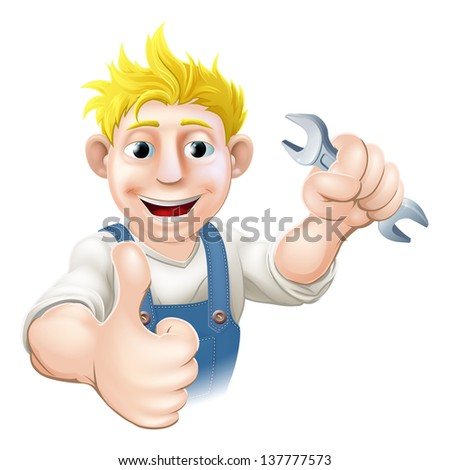 Cartoon mechanic or plumber holding a wrench or spanner and doing a thumbs up gesture - stock vector