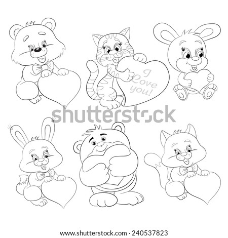 Cartoon merry rabbits, kittens and bears with heart. Coloring book. - stock vector