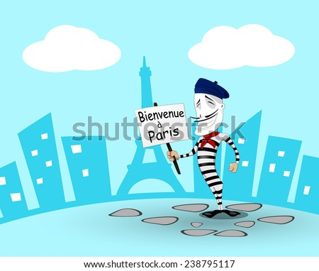 Cartoon mime in France. Vector eps 10 - stock vector