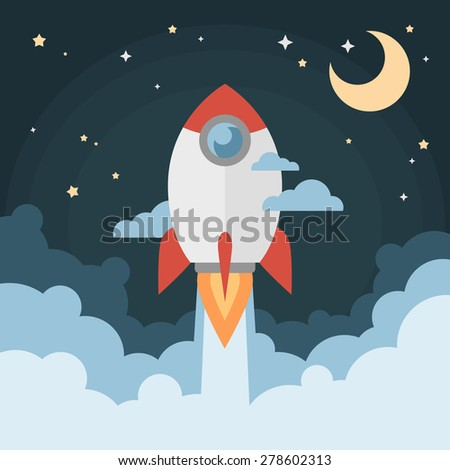 Cartoon modern flat rocket launch flying in space with moon and stars on background for prints, posters, flyers, startups - stock vector