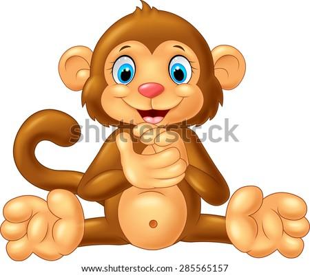 Cartoon monkey clapping hand - stock vector