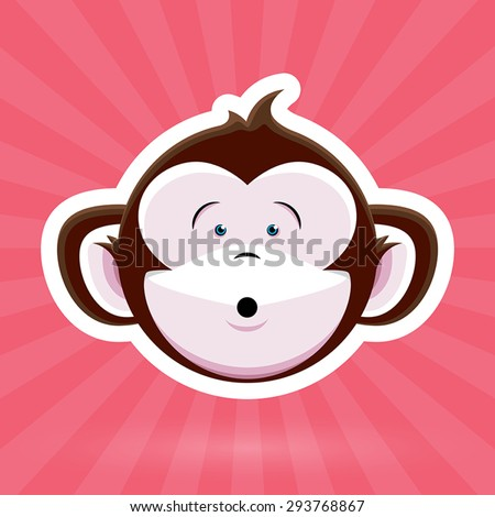 Cartoon Monkey Face with Surprised Expression on Pink Background - Vector Design - stock vector