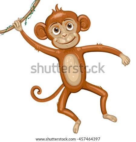 Cartoon monkey hanging in tree - stock vector